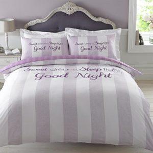 Dreamscene–Juego de cama de funda de edredón con funda de almohada, poliéster, Sweet Dreams rosa lila, 198x 198cm