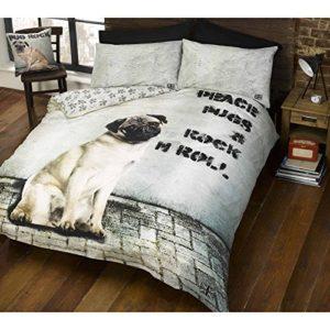 cucha 2Diseños de perro y edredón de funda de edredón y de almohada de perros Cachorro Ropa de cama juego de cama, Beige, Doble