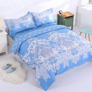 Alicemall Ropa de Cama Set 3 Piezas con 1 Funda Nordica 240*220 con 2 Fundas Almohada 50*80cm Azul Ligero con Cuadros de Dobles Caras Estilo Retro Vintage para Cama 135cm