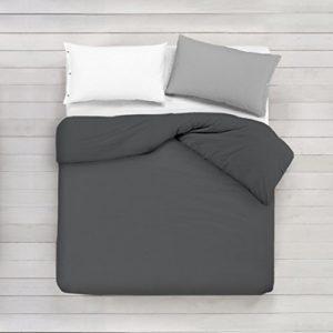 ADP Home - Funda nórdica Lisa, Calidad 144Hilos, 16 hermosos colores, cama de 150 cm - Gris