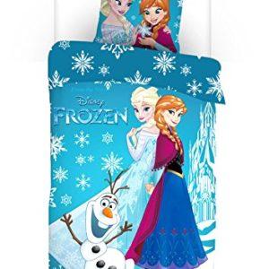 aymax s.p.r.l Frozen funda de edredón Reversible 140x 200cm + funda de almohada de 63x 63cm 100% poliéster, microfibra, azul, 200x 140cm)