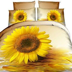 decoking Premium 60971cama (200x 220cm, con 2fundas de almohada 80x 80Amarillo 3d microfibra edredón de cama Girasol Flores Flores crema Color Crudo Cream Ivory Vainilla Yellow Sun