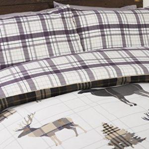 Ciervo 100% algodón cepillado franela de algodón edredón funda de edredón y 2funda de almohada ropa de cama juego de cama, Natural/Multicolor, Super King