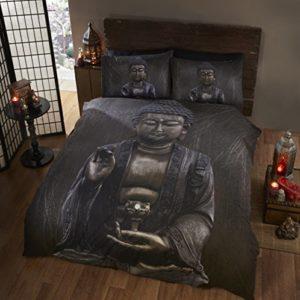 Buda Buda cama individual juego de funda nórdica y 1funda de almohada Set, étnicas y espiritual, color marrón