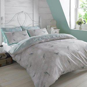 Dreamscene–Juego de funda nórdica con funda de almohada de jaula de pájaros de lujo, poliéster/algodón, luz azul, doble