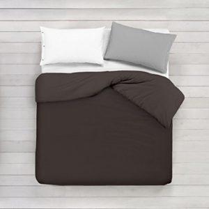 ADP Home - Funda nórdica Lisa, Calidad 144Hilos, 16 hermosos colores, cama de 150 cm - Chocolate