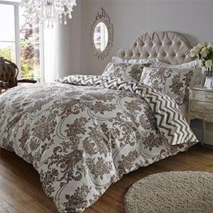 Estampado de lujo 200hilos de algodón edredón y funda de almohada juego de cama doble King SuperKing, Brown Cream, matrimonio grande