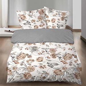 Castell Ropa de cama de franela (2piezas, funda nórdica de 135x 200cm almohada Reversible 80x 80cm flores gris blanco natural