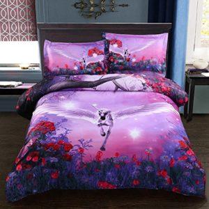 Juego de Cama 4 Piezas Unicornio Púrpura Flor Diseño incluido 1 Funda del Edredón 1 Sábana y 2 Fundas de Almohada (220x240cm)
