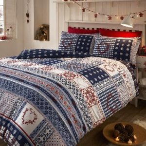 BRUSHED COTTON FLANNELETTE THERMAL KING DUVET COVER SET SNOWFLAKE NORDIC NAVY by Eleanor James