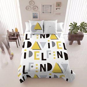 David Delfin Because Amarillo - Juego funda nórdica, 220 x 220 cm