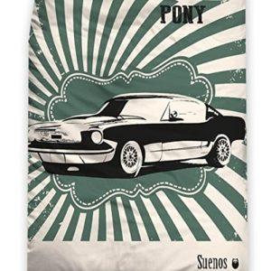 """'Suenos–Ropa de cama """"The Classic Pony Vehículo Vintage en beige, verde–tamaño 80x 80+ 135x 200de"""