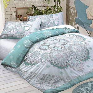 Celestial Mandala funda de edredón incluye funda de almohada/-Es Reversible, funda de edredón polialgodón Material, verde azulado, Doublé
