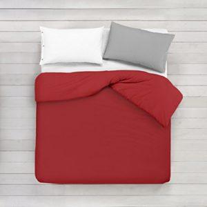 ADP Home - Funda nórdica Lisa, Calidad 144Hilos, 16 hermosos colores, cama de 90 cm - Rojo