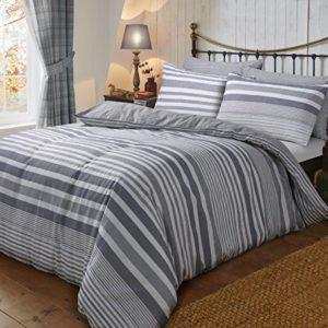 Dinámica gris franela de color Super King juego de funda nórdica (100% algodón cepillado de franela de algodón con fundas de almohada