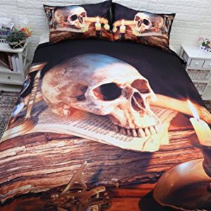 3unidades Funda de edredón juegos 3d impresión vela calavera cráneo Halloween, funda de edredón con funda de almohada Qeen King juego de cama, negro y naranja, King-220X240cm