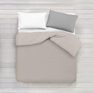 ADP Home - Funda nórdica Lisa, Calidad 144Hilos, 16 hermosos colores, cama de 90 cm - Beige