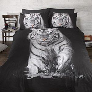 Bedding Heaven Ropa de cama funda de edredón de tigre cielo impresionante. Quirky fotográficas impresión Animal edredón Set. Blanco y Negro. Único,