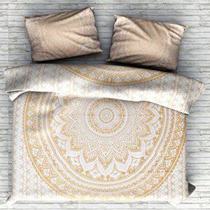 Color dorado indio Ombre bohemio Mandala funda de edredón ropa de cama Donna, con 2almohadas Beautiful exclusivo por Sophia Art, algodón, Golden, Matrimonio doble