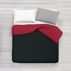 ADP Home - Funda nórdica Bi-Color, Calidad 144 Hilos, 10 combinaciones de colores cama de 150 cm - Negro y Rojo