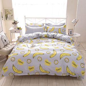 ED-Lumos Juego de Ropa de Cama4piezas Funda de edredón150*200cm Sábana 200*230cm Funda de almohada 48*74cm Poliéster Forma plátano Color Gris y amarillo