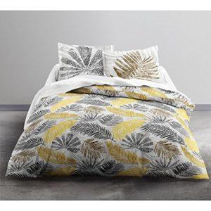 Today HC3Enjoy melanesie Juego de cama 2personas y 2fundas de almohada, algodón, blanco/amarillo, 240x 260cm