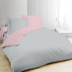 Funda nórdica y dos fundas para almohada (260 cm) Bicolor Gris y rosa
