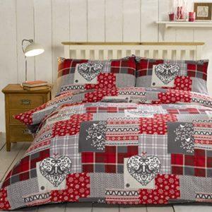Funda de edredón nórdico de Christmas Patchwork con 2 fundas de almohada: hecha 100% de franela de algodón, en tonos rojos y multicolor, algodón, Red/Multi-Colour, matrimonio grande