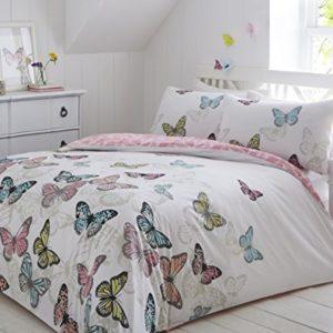 Funda nórdica Pieridae con diseño de mariposas, set de ropa de cama para individual, doble, king y superking, Blanco, suelto