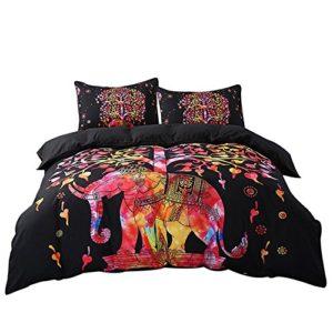 Exclusivo doble Multi elefante Super suave juego de funda de edredón para cama con 2fundas de almohada, diseño de elefante Mandala patrón, Bohemia Exotic diseño de patrones