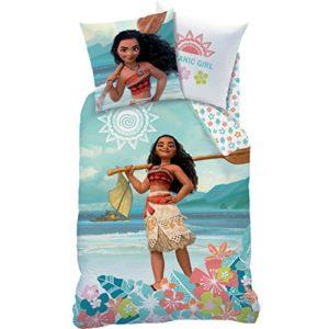 Decokids Moana - Juego de cama de 2 piezas, diseño de Vaiana (funda nórdica de 140 x 200 cm y funda de almohada de 63 x 63 cm)