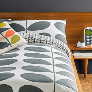 Ashley Wilde Orla Kiely franela gigante tallo granito pulido algodón: incluye funda nórdica y 1juego de almohadas–2por paquete