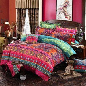 Estilo étnico ropa de Cama incluye 1 Edredón 1 Sábanas 2 Almohadas Vintage Impreso Activo Juego de Dormitorio (4 unidades) , B , 220x240cm