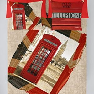 COTTON ART- Funda Nórdica LONDON REMEMBER Cama de 135 (220X260cm)+ 1 FUNDA DE ALMOHADA (45X150cm). ALGODÓN 100%. Disponible para cama de 90,105,135,150 y 180.