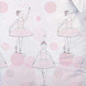 Bailarina niña Juego de cama · Kleine bailarinas · Reversible Diseño con Lunares y corazones · Color Rosa–Almohada 80x 80+ Funda Nórdica 135x 200cm–100% algodón