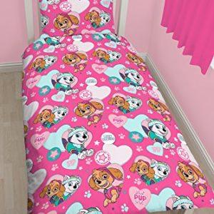 Character World Juego de edredón con estampado rotativo de la patrulla canina de Skye y Everest, polialgodón, multicolor, cama individual