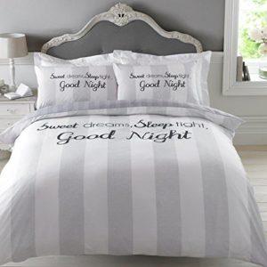 Dreamscene Sweet Dreams funda de edredón juego de cama con funda de almohada, gris, Single