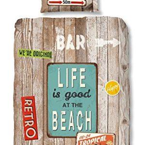 GOOD MORNING Juego De Funda Nórdica Beach Marrón/Multicolor 140 x 200/220 cm + 60 x 70 cm