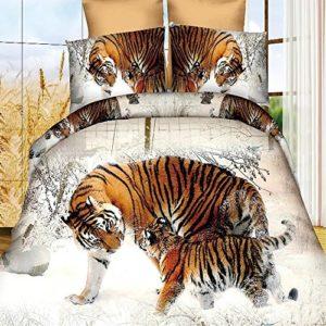4pcs nieve invierno tigre 3d juego de ropa de cama Animal Prints juego de funda de edredón doble tamaño