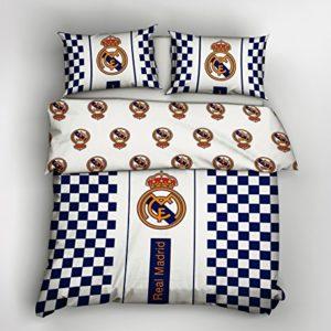 Juego de Funda de Edredón de 200 x 200 cm, Diseño del Escudo Real Madrid FC