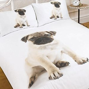 Dreamscene Juego de funda nórdica con funda de almohada 3d Pug perro Animal Print–tamaño individual–colcha juego de cama