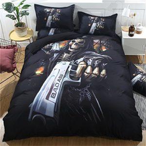 4pcs edredón de calavera Warrior Shelton Gunner ropa de cama, funda de edredón sábana y funda de almohada de cráneo de Halloween, Multiplicate, 160*210cm for 1.2M Bed