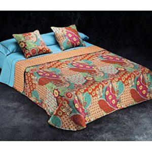 Burrito Blanco Colcha-boutí con cuadrantes 382 Rojo de cama de 150x190/200 cm