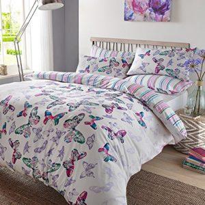 Dreamscene lujo Mariposa a la acuarela juego de edredón con funda de almohada, poliéster/algodón, multicolor, King