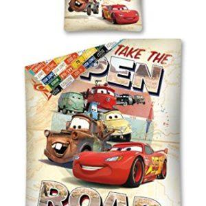 Disney Cars cama reversible, tamaño: 140x 200cm, funda de almohada de 70x 80cm en Multicolor 100% algodón