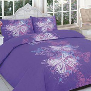 Funda nórdica estampada Real Boss con fundas de almohada a juego, diseño con motivos florales y animales exóticos multicolor, mariposa morada, Doublé