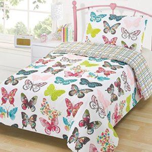 Dreamscene Gorgeous diseño de mariposas juego de cama de funda de edredón, morado, doble