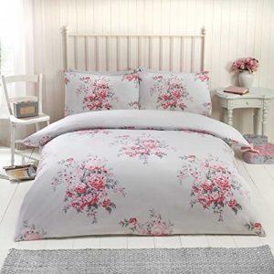 Flores rosas de algodón cepillado single (135x 200cm) funda nórdica