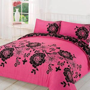 Dreamscene Roslyn Floral funda de edredón con funda de almohada, negro/rosa, rey