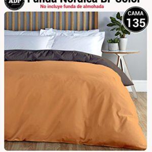 ADP Home - Funda nórdica Bi-Color, Calidad 144 Hilos, 10 combinaciones de colores cama de 135 cm - Chocolate y Naranja